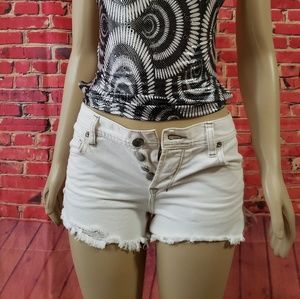 Free people Ivory/white Distressed shorts size 26